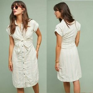 Anthropologie STRIPED TIE-FRONT SHIRTDRESS